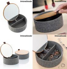 Joyero Organizador de joyas cosmeticos madera Bambú con Espejo, 3 compartimentos