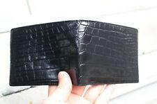 Black Genuine Crocodile/Alligator Skin Leather - Men's Bifold Wallets