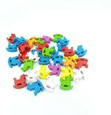 35 Wooden Rocking Horse Beads Muti Coloured 24mm
