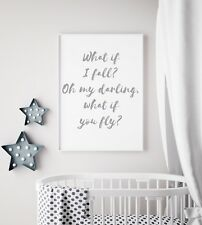 What If I Fall But Fly Grey Unisex Nursery Print Kids Bed Room Wall Art Picture