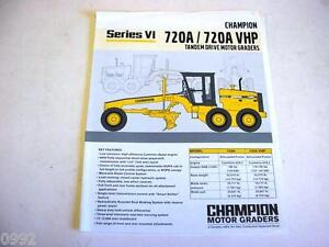 Champion 720A/720A VHP Motor Graders Color Literature