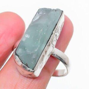 Aquamarine Rough Gemstone Handmade 925 Sterling Silver Jewelry Ring Size 8.5