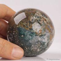 338g 63mm Natural Ocean Jasper Quartz Crystal Sphere Healing Ball Chakra Decor