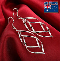 Wholesale Elegant 925 Sterling Silver Filled Twist Leaf Dangle Earrings Party