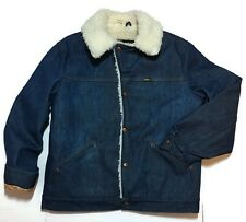 Maverick Denim Ranch Coat Large Jean Jacket Sherpa Lined Vintage Farm Western