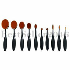 10pcs Professional Soft Oval Toothbrush Makeup Brushes Set for Foundation Powder