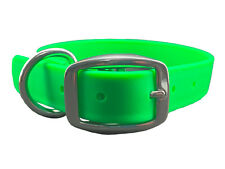 BioThane EASY CLEAN Waterproof LIME GREEN Dog Collar w Stainless MADE IN USA
