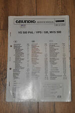 Grundig VS 500 PAL VPS/GB/MVS 500 VHS VCR Genuine Workshop Manuale Di Servizio