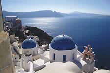 Postcard SANTORINI BLUE DOMES GREECE 2010 SEA VIEW Color Post Card