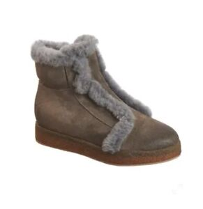 NWOB ANTELOPE Fur Trimmed Beige Sued Leather Booties size 8