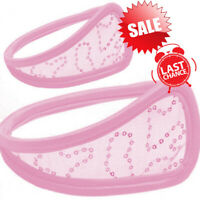 SALE Women Sequin Pink C-string Thong Panty Comfy Underwear Invisible Underwear