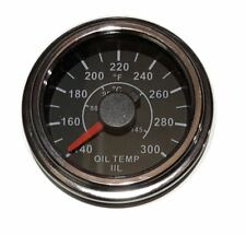"Oil Temp Gauge, 2""/52mm, 0-300F (40-150C), black/chrome, white LED, 001-OT300-BC"