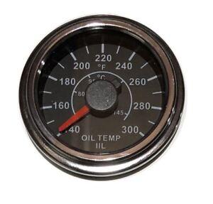 "Oil Temp Gauge, 2""/52mm, 0-300F (40-150C), black/chrome, white LED, 001-OT300-BC"