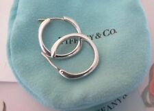 "Tiffany & Co. Sterling Silver 3/4"" Medium Square Cushion Pierced Hoop Earrings"