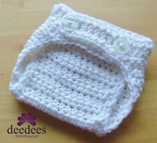 ~ NEW Baby Crochet NAPPY COVER - Photography Prop *White* 0-3m *QLD MADE* ~