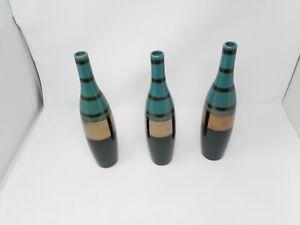 "Set of 3 Green &  Bronze  Bottle Shaped Vases, 12"""