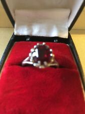 Lovely Antique/ Vintage Solid silver Garnet / Red stone Paste?  Ring Size T 1/2