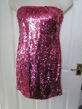 BNWT UK 14 Lipsy Dress Bright Pink Full Sequin Strapless Thigh Length Full Zip