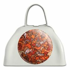 Too Many Dachshunds Wiener Dog Pattern White Metal Cowbell Cow Bell Instrument