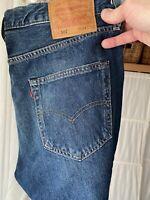 """Levis 501 Mens Premium Jeans 34 32 Vintage Style """"Sponge St"""" Dk Blue Big E Label"""