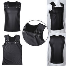 Men's Wet Look Leather Sleeveless Top T-shirt Summer Clubwear Vest Top Costume L