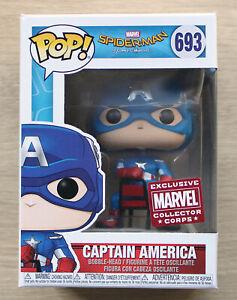 Funko Pop Marvel Spider-Man Homecoming Captain America MCC (Box Wear) + Protectr