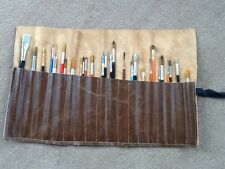 Artist Brush Roll. Genuine Italian Leather