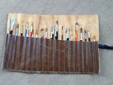 Artist Brush Roll. Genuine Italian Leather