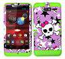 KoolKase Hybrid Cover Case for Motorola Droid Razr M XT907 - Skull Star Pink