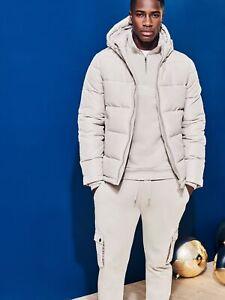 BURTON MENSWEAR LONDON Mens Grey Puffer Jacket Recycled Polyester Outwear Top