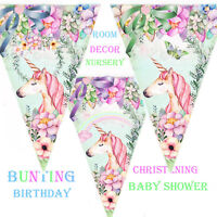 Bunting Unicorn, Birthday, Baby Shower, Christening Party Decor Garland, wedding