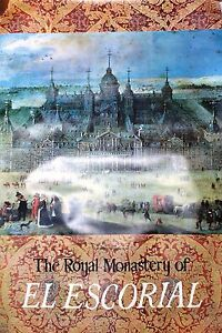 Vintage rare travel poster Spain The Royal Monastery of El Escorial Madrid