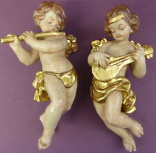 2x Engel 32 cm geschnitzt Putto Holzfigur Skulptur Musikant Holz