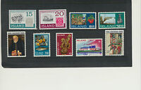 Iceland 9 Different Mint NH commemorative stamps