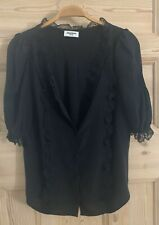Zadig & Voltaire Black Silk Theos Deluxe Lace Trim Blouse Top - S £260