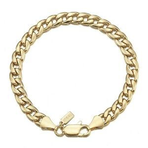 18K Yellow Gold GL Med Curb Solid Mens Women's Unisex Bracelet with Clasp 20cm