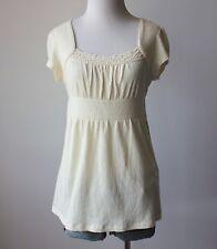 Juniors Crochet Lace Empire Waist Babydoll Tie Back Knit T Shirt Top Blouse M L