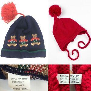 Lot of 2 Infant Knit Beanie Hats Teddy Bear Pom Poms Tassel Baby Hat