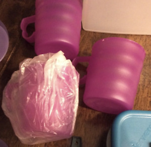Tupperware Stackable IMPRESSIONS MUGS  SET OF 3 Purple New