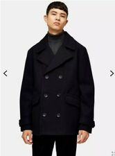 RRP £69 TOPMAN Navy Pea Coat Medium Mens