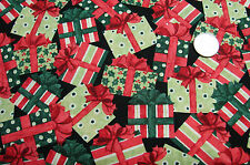 TOSSED RED AND GREEN CHRISTMAS PACKAGES  100% COTTON, QUILT, SEW