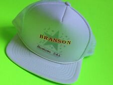 Vintage BRANSON Showtown USA TRUCKER White Mesh Snap Back Hat Cap Adult One Size