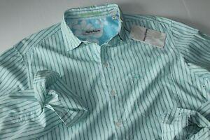 Tommy Bahama Shirt Island Commuter Stripe Breeze Blue Nylon LS New Medium M