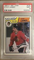 1983 1984 OPC Steve Larmer PSA 9 RC ROOKIE Mint #105 Chicago Black Hawks