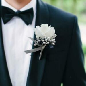 Wedding Boutonniere Buttonholes Groom Groomsman Best Man Rose Brooch Flowers
