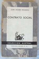 CONTRATO SOCIAL - JUAN JACOBO ROUSSEAU - COLECCÓN AUSTRAL 1969 - VER INDICE