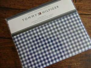 TOMMY HILFIGER NAVY Blue WHITE CHECKED QUEEN SHEET Set 4PC
