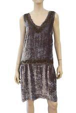 ALL SAINTS Embellished Purple-Gray Silk-Velvet Slvls Drop-Waist Shift Dress M/L