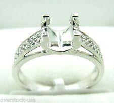 Platinum 900 U Shaped 4 Prongs Pave set 0.16ct Diamonds Engagement Ring Setting