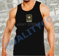 Men's US Army Strong Military Workout Bodybuilding Black Muscle Tank Top Beast